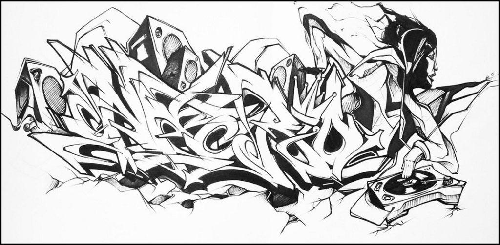сорок картинки граффити контур топ-кнот